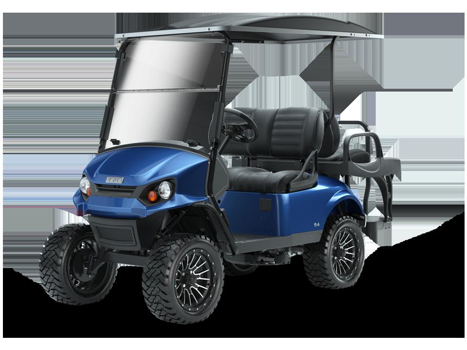 Blue golf car